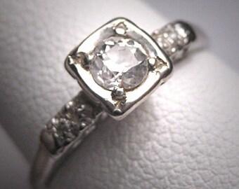 Antique Diamond Wedding Ring Vintage Art Deco Wht Gold