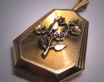 Antique Gold Victorian Locket Pendant Art Deco Floral