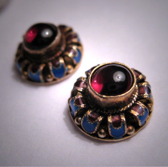 Vintage Georgian Victorian Garnet Enameled Earrings