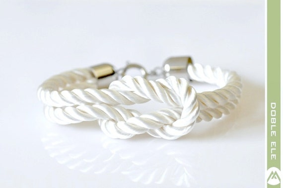 Square Knot Silk Rope Bracelet For Men - White