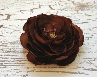 Silk Flower - One Ranunculus Flower in Chocolate Brown - 3.5 Inches - Artificial Flower