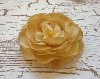 Silk Flower - One Ranunculus Flower in Beige - 3.5 Inches - Artificial Flower