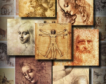 DaVinci Drawings 1.5 Inch Squares ACEO ATC Digital Collage Sheet Scrapbooking Cards Embellishments Backgrounds Tags 060
