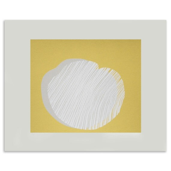 Small yellow, grey and white seed screen print, original and handmade with lovely linear detail, a great little print for a modern home.