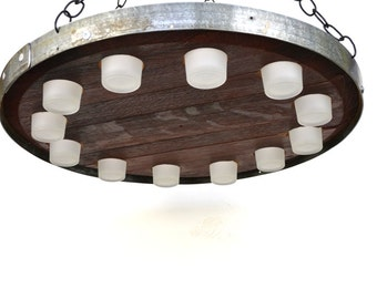 "VOTIVE - ""Vela"" - Wine Barrel Head Candle Chandelier - 100% recycled"