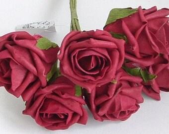 Bunch of 6 Foam Rose Buds -  Burgundy