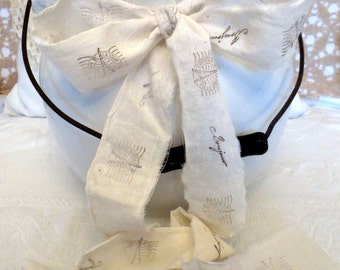 Hand stamped muslin ribbon