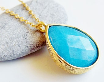 Teardrop Necklace - Blue Jade - 18 inch chain - Fall Fashion