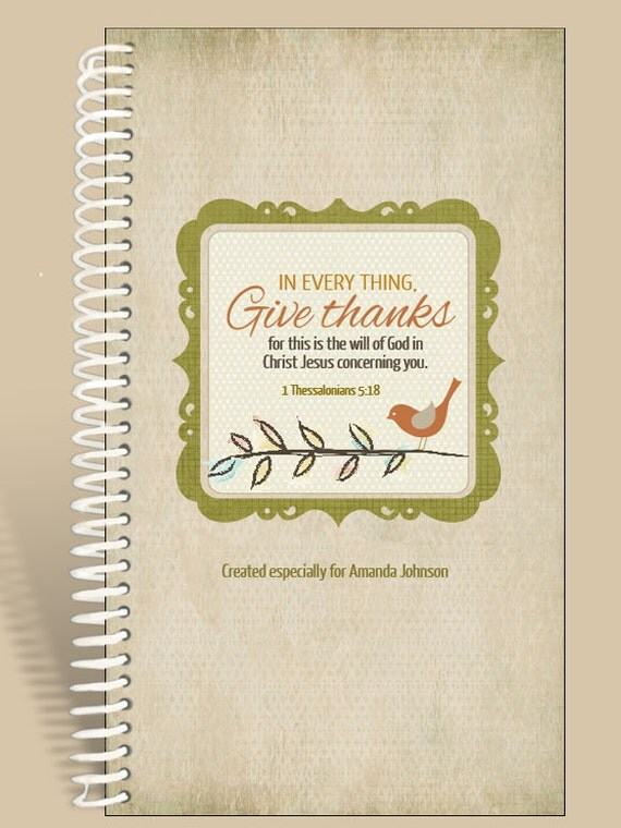 Personalized Gift / Prayer Notebook - Little Birdie Fall Version- 1 Thessalonians 5:18/