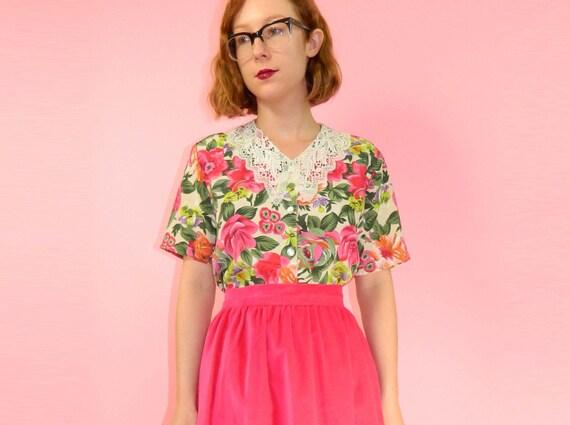 Floral Blouse Crochet Lace Collar S/M