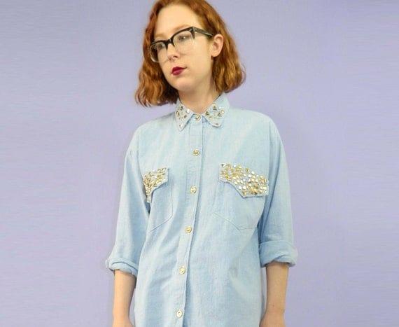 Studded Collar Shirt 90s Rhinestones Gold Stars Blue Chambray S/M