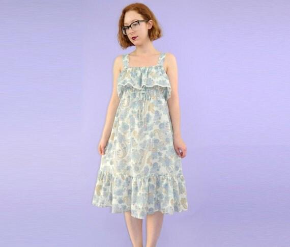 1970's Sun Dress Floral Paisley Empire Dress S/M/L SALE