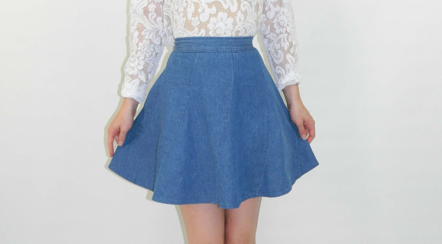 circle skirt denim light blue xs by wearitwellvintage