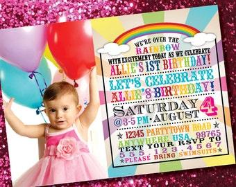 DIY Printable Rainbow Birthday Photo Invitation