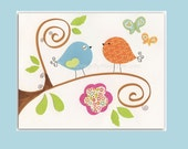 Nursery Art Print // Childrens Decor // Nursery Art // 8x10 kid's Art // Playroom decor // Bird, Flowers, Tree // Pink, Aqua, Orange, Green