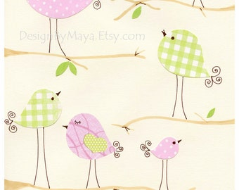 Baby Room Decor Nursery Art Birds ..Talking, pink and green birds, match to penelope bedding set, children decor, kids wall art, baby room