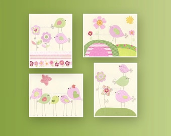 Girl Nursery Decor, Girl Nursery Art, Baby Wall Art, set of 4 8x10, Baby Girl Nursery, Girl Nursery Wall Art,Pink And Green Nursery Décor