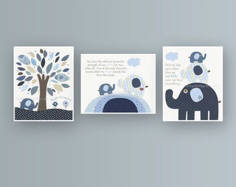 Baby boy, Nursery wall Decor, Children Art print, Harper, baby elephant, set of 3 prints, match to the colors Harper bedding, baby room deco
