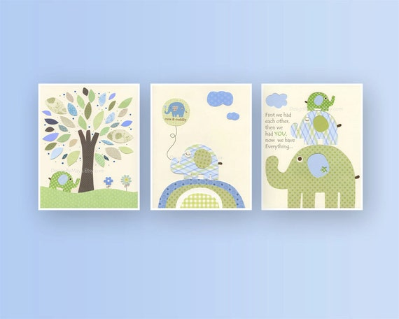 Baby boy, Nursery wall Decor, Children Art print, Eli baby elephant, set of 3 11x14...match to the colors Eli's elephants, kids room art