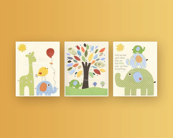 Wall Art For Nursery Ideas : Nursery decor for baby room wall art set