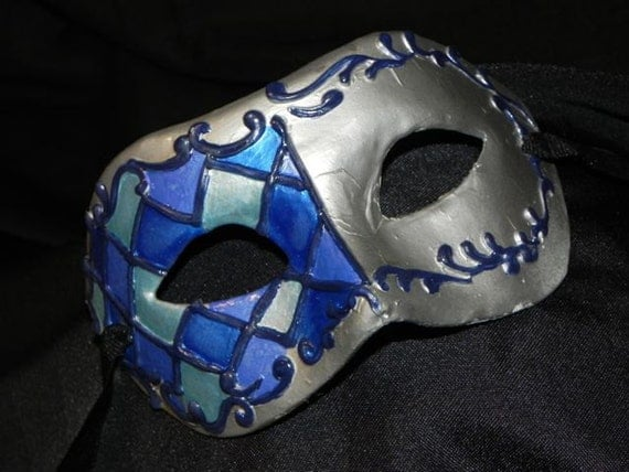 Harlequin Mask in Shades of Blue
