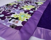 Purple & Violet Daisy Dots with Purple Minky Dot and Grape Satin Trim Stroller Blanket -- READY TO SHIP - NotyBaby