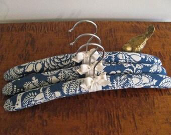 Padded Hangers, Indigo Toile Padded Hanger, Ladies Padded Hangers, Blue Toile Padded Hangers (Set of 3)