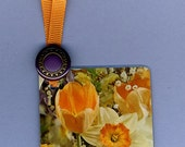 Bookmark FLORAL MEDLEY Handmade from Vintage Playing Card & Button with Grosgrain Ribbon