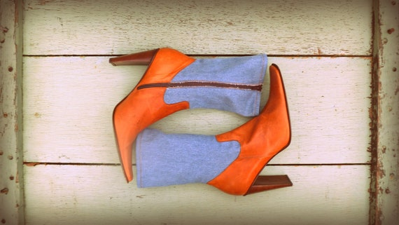 Vintage leather and denim high heel mid-calf square toe boots
