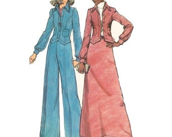 70s Jacket Pattern and Maxi Skirt Pattern/ 1970s UNCUT Simplicity Misses Unlined Jacket, Maxi Skirt and Pants Sewing Pattern 5866/ Size 12