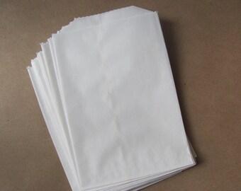 "50 White Paper Bags - Flat 4 1/4 x 6"" - Candy Buffet - Treats / Favor Sacks - 4x6 Small / Medium - Food Safe - Flatware Packaging - 4.25 x 6"
