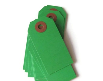 """25 Green Shipping / Parcel Tags - Small 2 3/4 x 1 3/8"""" - Blank - Plain - 2.75"""" - DIY Packaging / Crafting - Scrapbooking - Price / Hang Tags"""