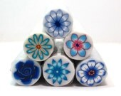 Polymer clay cane Sale - set of 6 blue Polymer Clay Millefiori Flower canes