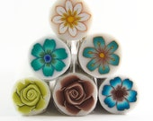 Polymer clay cane - Millefiori flower canes, set of 6