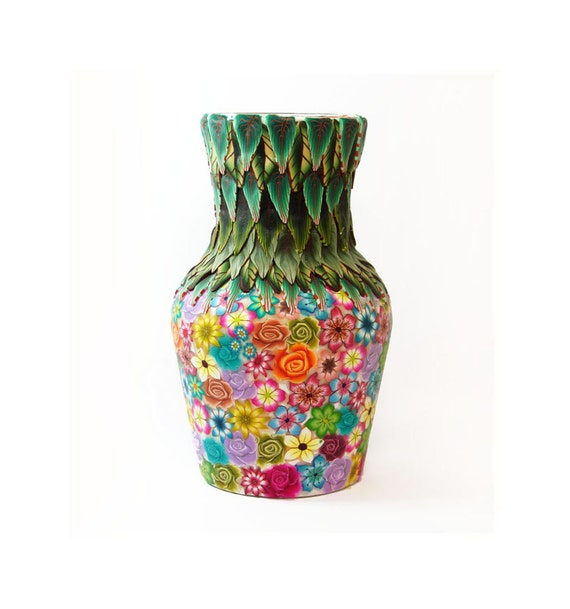 Holiday gift Floral small vase, covered glass vase Polymer clay