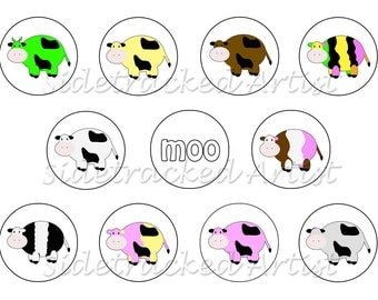 Instant Download / Colorful Cows one inch round DIGITAL IMAGES No. 271B for bottle caps