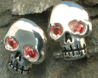 Skull Earrings, Orange-Red Padparadscha Sapphire, Hand Crafted Sterling Silver, post stud earrings
