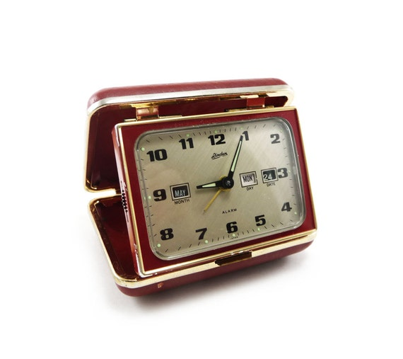 Red and gold travel alarm clock with calendar - Linden vintage fold up clock