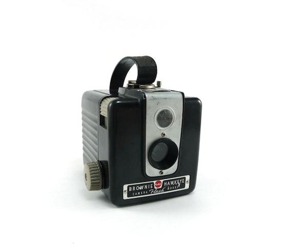 Vintage kodak camera - 1950s Kodak Brownie Hawkeye black titanium gray silver