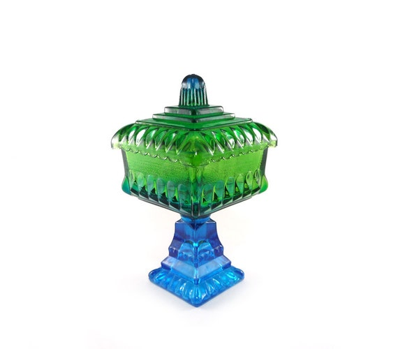 Vintage glass compote - teal blue & green candy dish, flashed glass