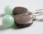 Mint Green Moonstone, Grey Wood, Smokey Quartz, Sterling Silver Earrings