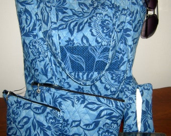 Blue Floral Tote Purse with Inner Zippered Pocket  including Two Matching Zippered Accessories Bags and Pocket Tissue Holder
