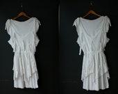 Totally 80s Dress / Asymmetrical Deconstructed  White Dress