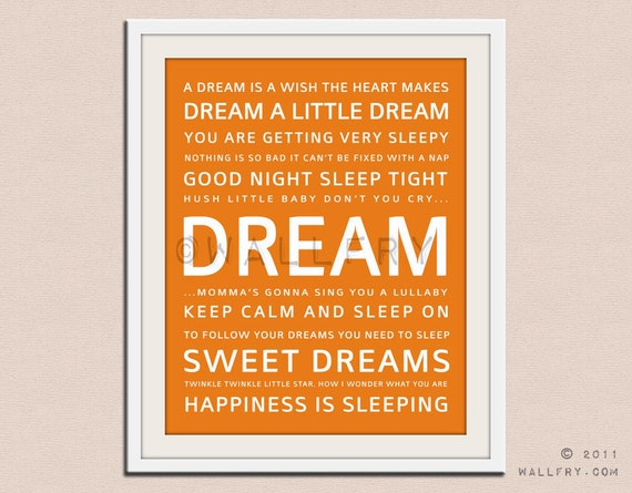 DREAM quote print. Baby nursery decor. Art for children typography art for kids. Nursery wall quotes. Nursery quotes. 5X7 Cliche print