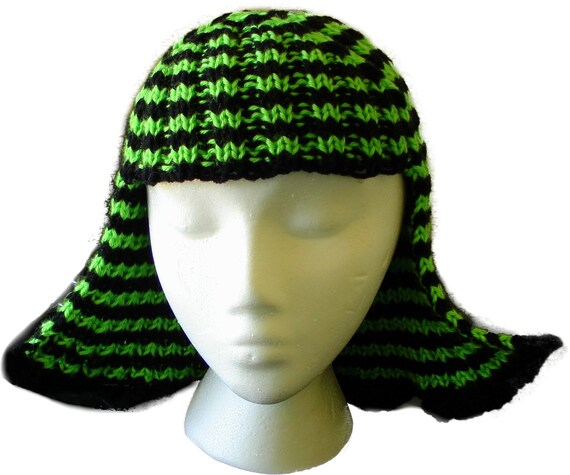 Hat Hair Neon Green and Black Stripes Knit Wig