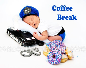 Policeman Photography Prop Newborn Police Cap and Diaper Cover Set Photo Prop
