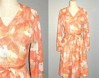Vintage 70s dress ORANGE SHERBET floral print long sleeve - S/M