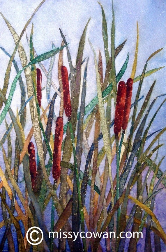 CATTAIL EXPLOSION-Original Watercolor Painting