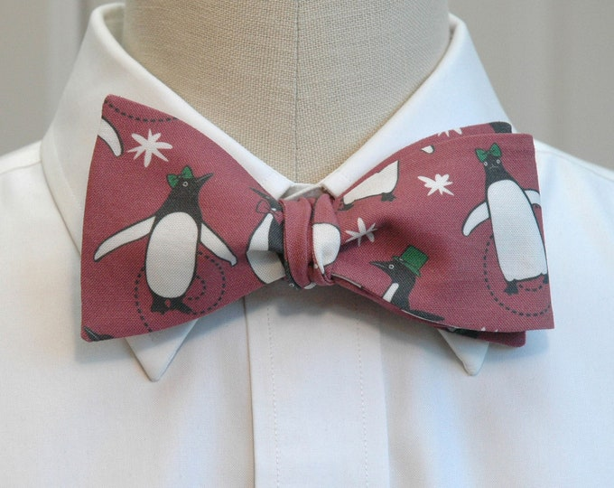 Men's Bow Tie, Christmas red with penguins, ice skating penguins bow tie, holiday bow tie, fun Christmas gift for men, red penguins bow tie
