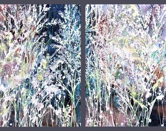 Diptych No.22, Flower, limited edition of 50 fine art giclee prints form my original watercolor